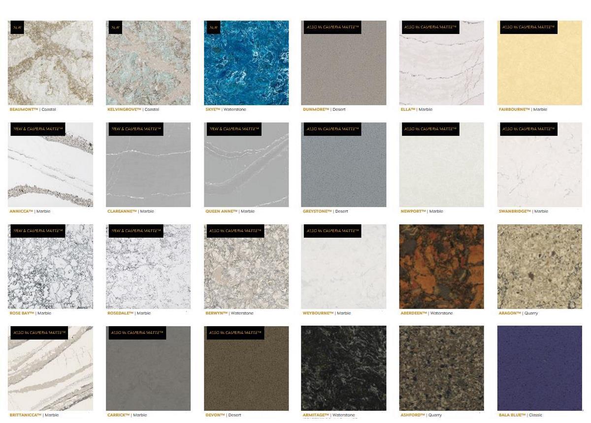 Quartz Tile colors for kitchen countertops, bathroom Vanities ...